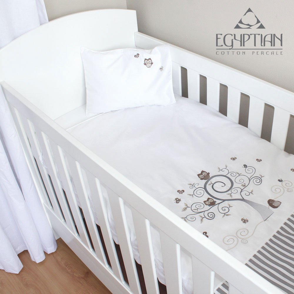 Baby Owl Egyptian Cotton Baby Cot Duvet Cover Set Kids Cove