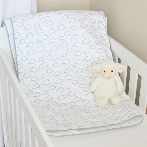 Clouds Cotton Quilt/Play mat (duck egg blue)