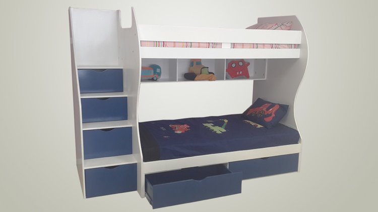 Storage Bunk Bed Single Over Three Quarter Bed Kids Cove