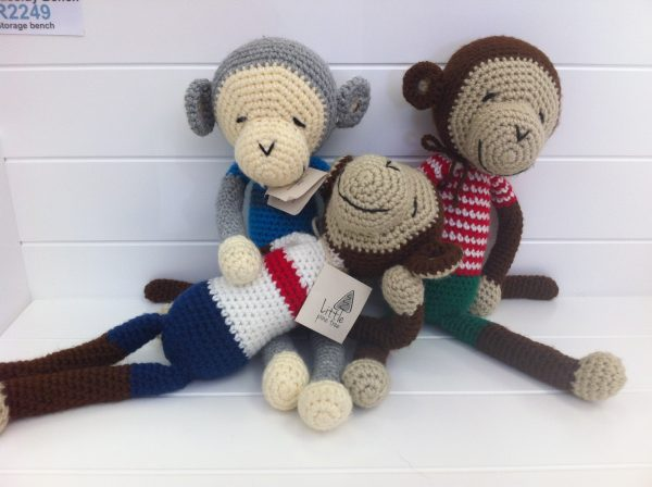 43cm monkey soft toy. Handmade, local, hand-knitted and uniquely South African toy.