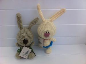 25-30cm baby bunny / rabbit soft toy. Handmade, local, hand-knitted and uniquely South African toy.