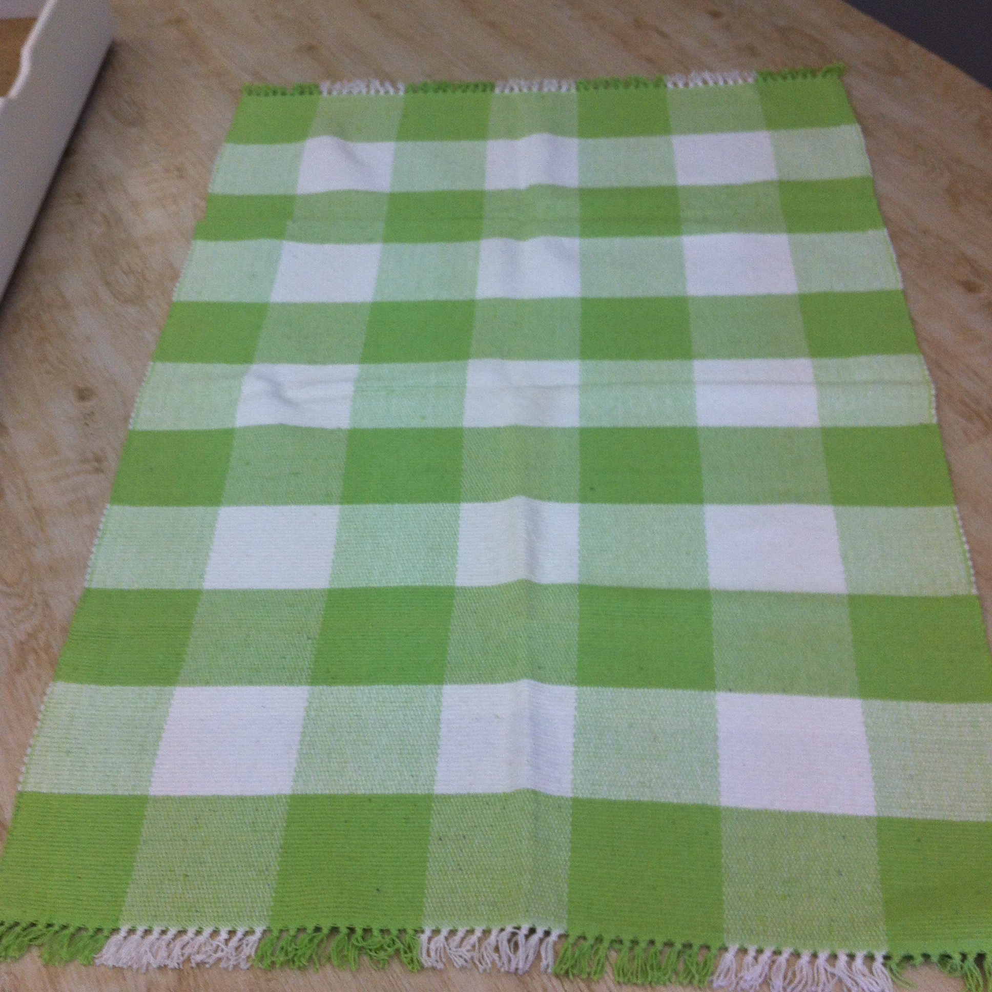 Extra Large Lime Green White Check Rug
