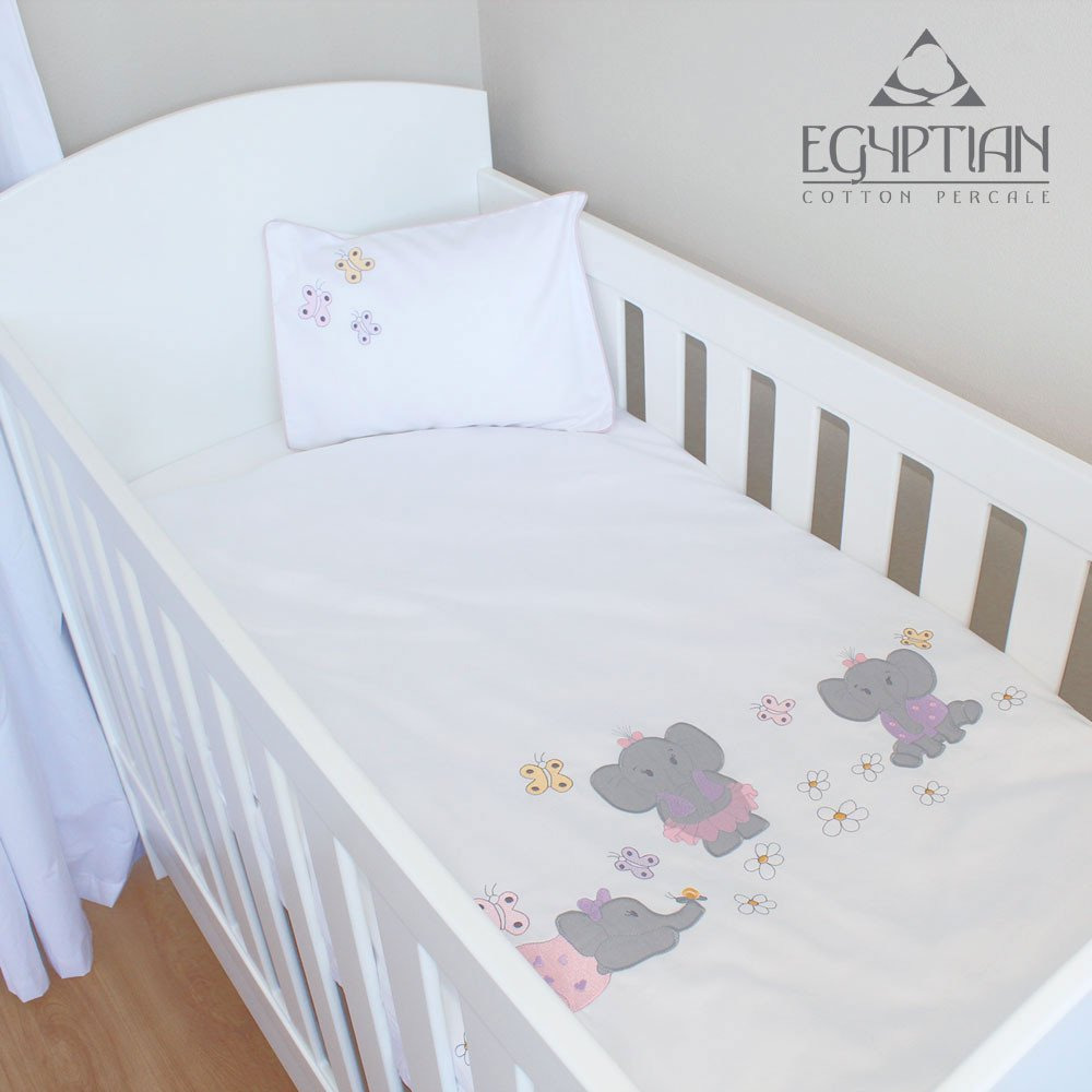 Playful Elephants 100 Egyptian Cotton Cot Duvet Cover Set