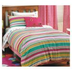 Holiday stripe pink duvet cover girls - Kids Cove