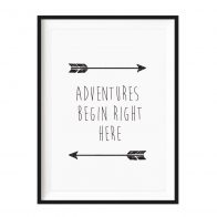 Adventures Begin Right Here A4 black framed print - Kids Cove