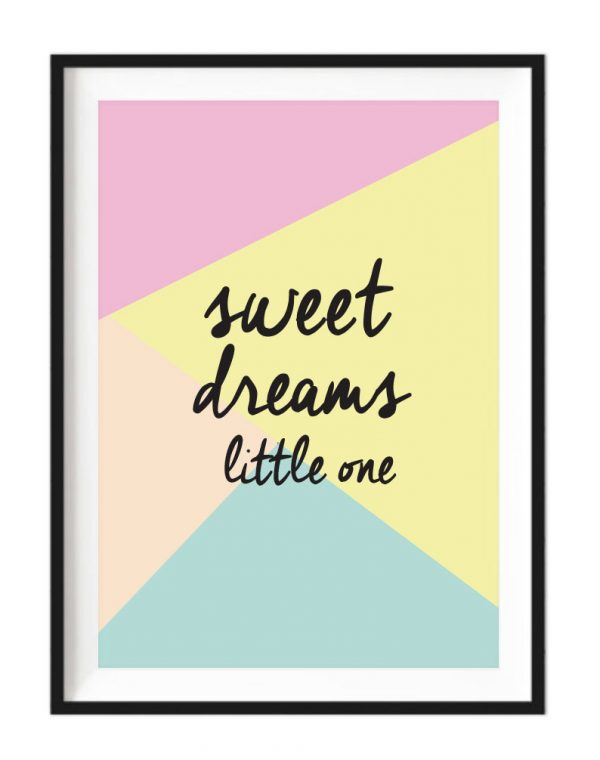 Sweet Dreams Little One A4 white framed print - Kids Cove
