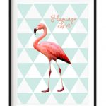 Flamingo Love white a4 framed print - Kids Cove