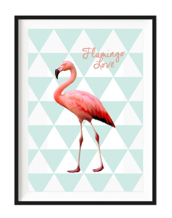 Flamingo Love white a4 framed print - Kids Cove