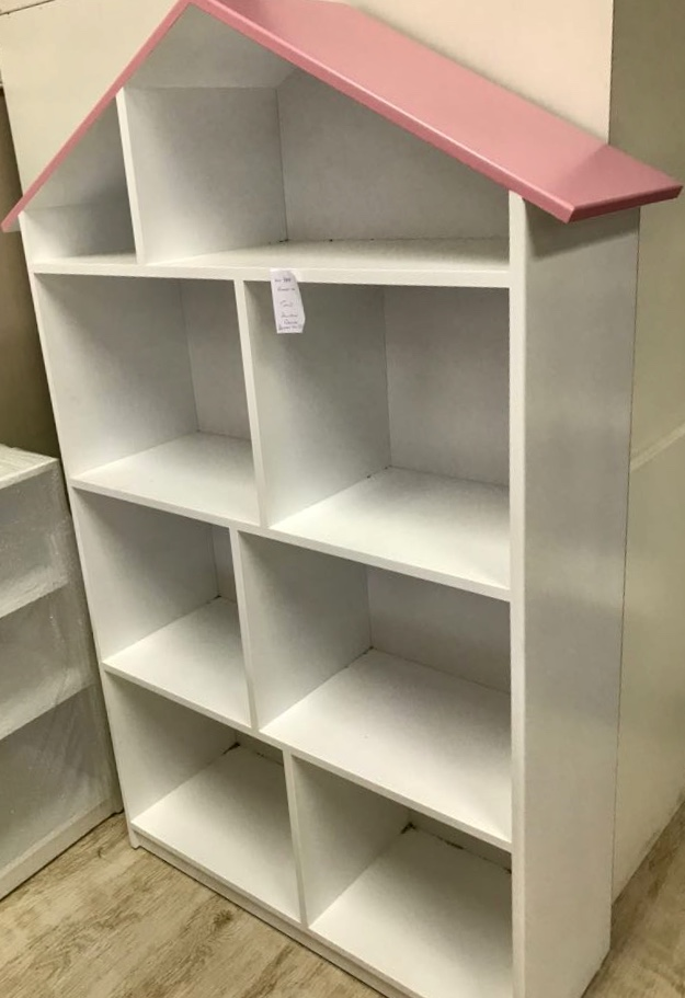 Doll House Bookshelf 3 Tier White Petunia Pink