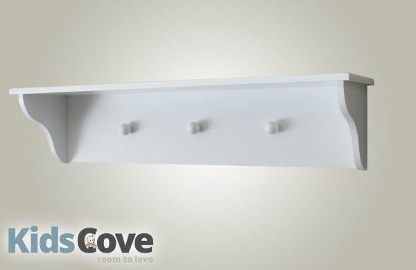 3 knob wall shelf - white - Kids Cove