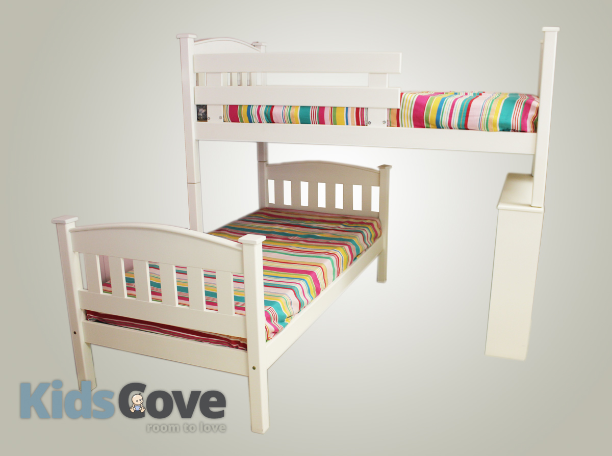 The Madison L Shaped Bunk Bed With Bookshelf And Ladder Kids Cove