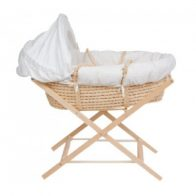 Woven Moses Basket - White - Kids Cove